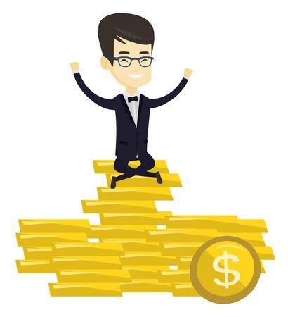 Asian business man sitting on stack of golden coins. Businessman sitting on a pile of golden coins. Successful business man on gold coins. Vector flat design illustration isolated on white background. Illustration