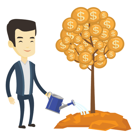 Asian businessman watering money tree. Businessman investing money in business project. Illustration of investment money in business. Vector flat design illustration isolated on white background.