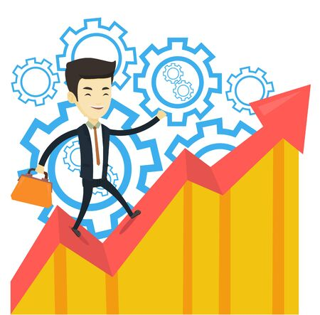 Asian successful business man standing on profit chart. Young happy business man running along the profit chart. Business profit concept. Vector flat design illustration isolated on white background.