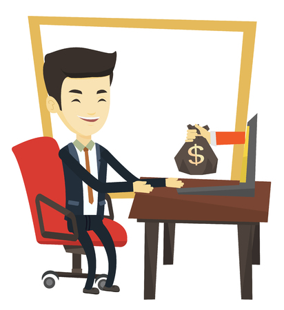 e commerce: Asian businessman working in office and bag of money coming out of laptop. Man earning money from online business. Online business concept. Vector flat design illustration isolated on white background Illustration