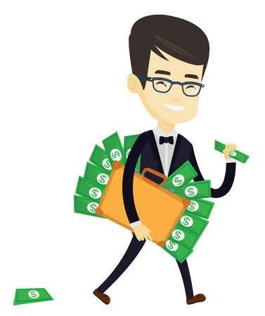Asian business man walking with briefcase full of money and committing economic crime. Businessman stealing money. Economic crime concept. Vector flat design illustration isolated on white background.