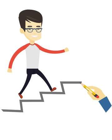 achievement concept: Asian business man running up the career ladder drawn by hand. Happy business man climbing the career ladder. Concept of business career. Vector flat design illustration isolated on white background. Illustration