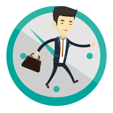 Busy asian businessman running on the background with clock. Young busy business man running in a hurry. Concept of deadline and busy time. Vector flat design illustration isolated on white background Illustration
