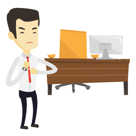 Asian employer checking time of coming of his latecomer employee. Angry employer pointing at time on wrist watch. Concept of late to work. Vector flat design illustration isolated on white background.