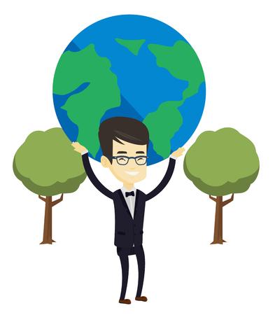 Aziatische bedrijfsmens die grote Aardebol over zijn hoofd houdt. Jonge bedrijfsmens die aan globale zaken deelneemt. Concept van wereldwijde business. Vector platte ontwerp illustratie op een witte achtergrond.