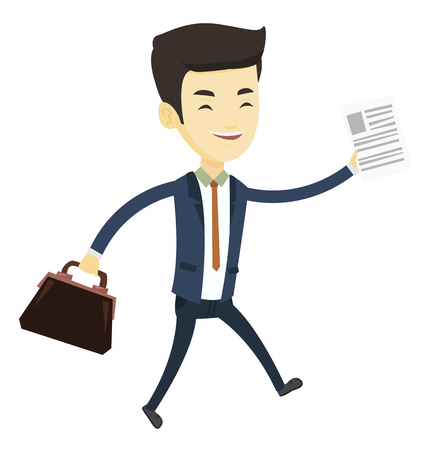Asian business man with briefcase and a document running. Young business man running in a hurry. Cheerful business man running to success. Vector flat design illustration isolated on white background. Illustration
