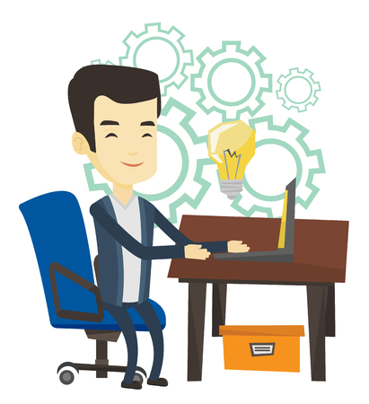 asian man laptop: Asian business man having a business idea. Young businessman working on a laptop on a new business idea. Successful business idea concept. Vector flat design illustration isolated on white background. Illustration