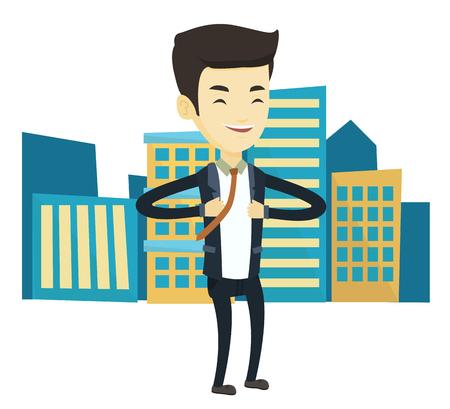Asian business man superhero. Business man opening jacket like superhero. Young business man in suit taking off his jacket like superhero. Vector flat design illustration isolated on white background. Ilustrace