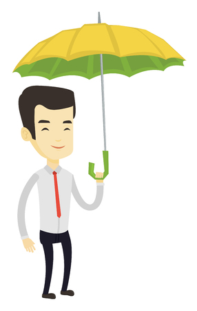 Asian insurance agent with umbrella. Insurance agent standing safely under umbrella. Business insurance and business protection concept. Vector flat design illustration isolated on white background. Illusztráció