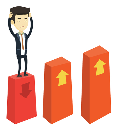 Asian frightened bankrupt business man clutching his head. Bankrupt business man standing on chart going down. Business bankruptcy concept. Vector flat design illustration isolated on white background