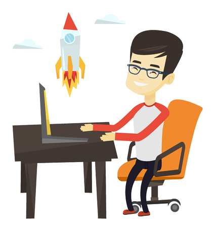 Asian businessman looking at business start up rocket. Young businessman working on a new business start up. Business start up concept. Vector flat design illustration isolated on white background.