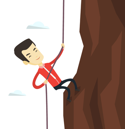 Asian business man in suit climbing on rock. Young brave business man using rope to climb on the mountain. Concept of business challenge. Vector flat design illustration isolated on white background.