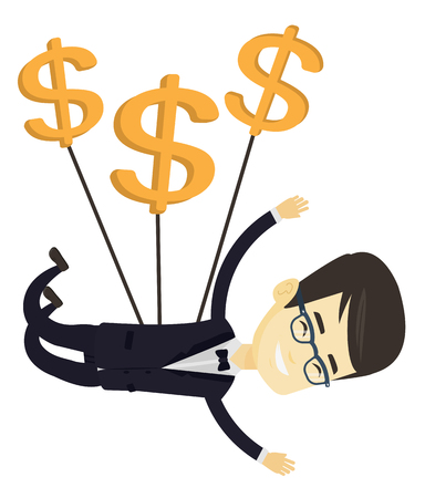 Asian business man flying with dollar signs. Business man gliding in the sky with dollars. Business man using dollar signs as parachute. Vector flat design illustration isolated on white background.