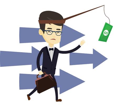 sweaty: Businessman motivated by money hanging on fishing rod. Money on fishing rod as motivation for businessman. Concept of business motivation. Vector flat design illustration isolated on white background.