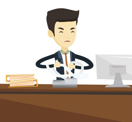 Asian business man sitting in office and tearing furiously bills. Angry businessman calculating bills. Angry businessman tearing invoices. Vector flat design illustration isolated on white background.