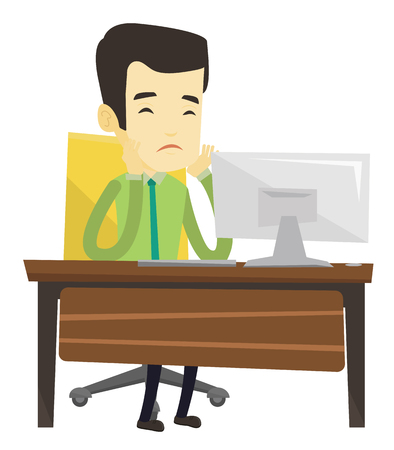 Exhausted bored asian employee sitting in front of computer in office. Overworked tired employee working with his head propped on hand. Vector flat design illustration isolated on white background. Stock Vector - 76006123