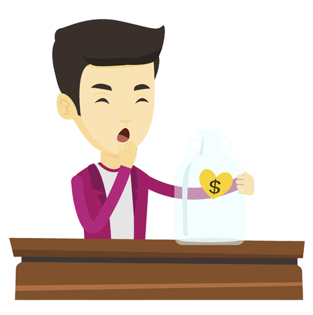 Worried asian business bankrupt looking at empty money box with dollar sign. Desperate bankrupt sitting at the table with empty money box. Vector flat design illustration isolated on white background.