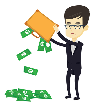 Depressed asian bankrupt shaking out money from briefcase. Despaired young bankrupt business man emptying briefcase. Bankruptcy concept. Vector flat design illustration isolated on white background.
