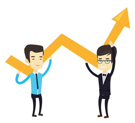 Two asain smiling business men holding growth graph. Cheerful business team with growth graph. Concept of business growth and teamwork. Vector flat design illustration isolated on white background.