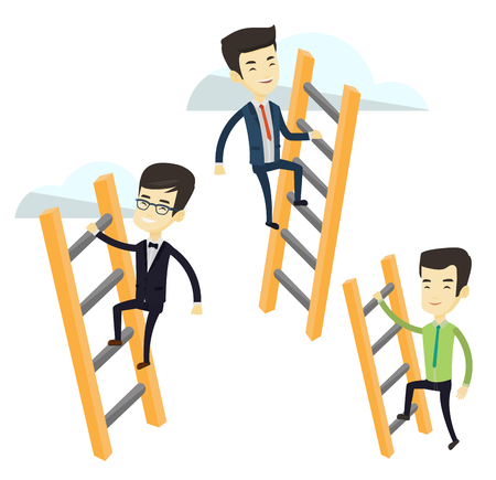 stair climber: Business people climbing the ladders. Business men climbing on cloud. Business men climbing to success. Concept of competition in business. Vector flat design illustration isolated on white background