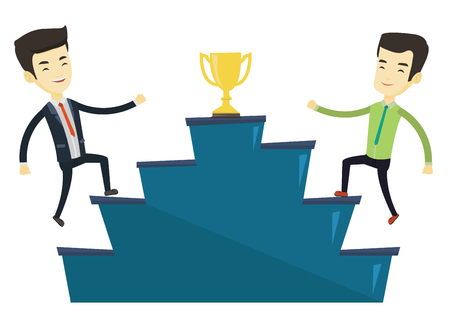 Two asian business men competing for golden trophy. Two competitive business men running up for the trophy. Business competition concept. Vector flat design illustration isolated on white background.