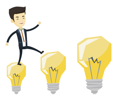 Young asian business man jumping on idea light bulbs. Business man hopping onto idea light bulbs. Concept of successful business idea. Vector flat design illustration isolated on white background.