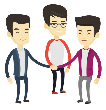Asian business people putting their hands together. Business people joining hands. Business men stacking their hands. Partnership concept. Vector flat design illustration isolated on white background.