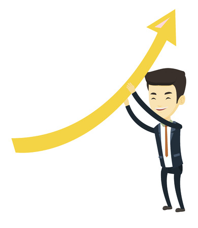 achievement concept: Asian business man changing the path of graph to a positive increase. Business man holding graph going up. Business man with growth graph. Vector flat design illustration isolated on white background.