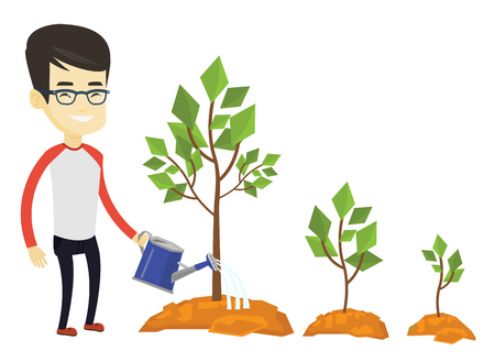 Asian business man watering trees of three sizes. Business man watering trees with watering can. Business growth and investment concept. Vector flat design illustration isolated on white background.