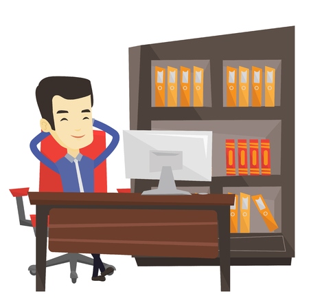 Satisfied asian business man sitting at workplace in the office. Business man relaxing in the office with his hands clasped behind head. Vector flat design illustration isolated on white background.