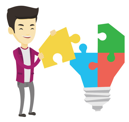 Businessman completing idea light bulb made of puzzle. Businessman inserts missing puzzle in the idea light bulb. Business idea concept. Vector flat design illustration isolated on white background.