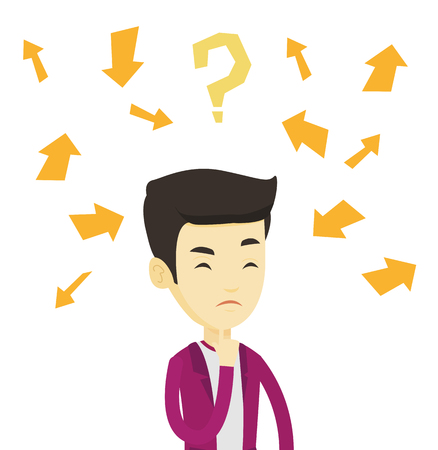 Asian businessman standing under question mark and arrows. Young businessman thinking. Business man surrounded by question mark and arrows. Vector flat design illustration isolated on white background Vektorové ilustrace