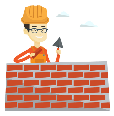 Asian bricklayer in uniform and hard hat. Bicklayer working with spatula and brick on construction site. Bicklayer building brick wall. Vector flat design illustration isolated on white background. Illustration
