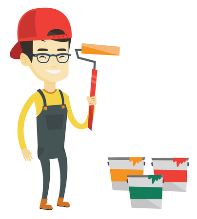 redecorate: Asian house painter in uniform holding paint roller in hands. Young house painter at work. Smiling house painter standing near paint cans. Vector flat design illustration isolated on white background.