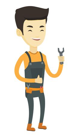 Asian happy repairman giving thumb up. Young repairman standing with a spanner in hand. Smiling repairman in overalls holding a spanner. Vector flat design illustration isolated on white background. Stock Illustratie