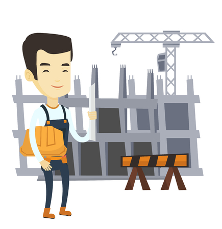 building site: Asian engineer standing with blueprint at construction site. Engineer holding hard hat and blueprint. Engineer checking construction works. Vector flat design illustration isolated on white background Illustration