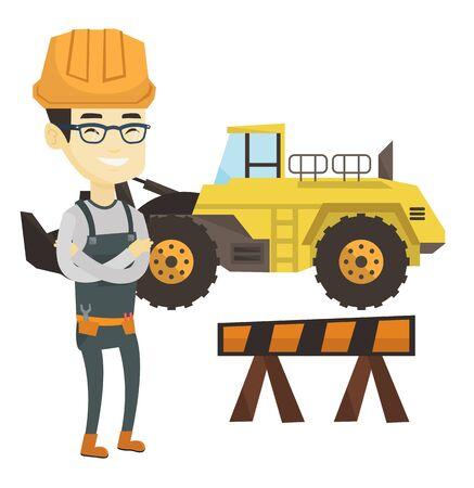 Asian builder standing on the background of construction site or road works. Builder standing with arms crossed. Young builder in hard hat. Vector flat design illustration isolated on white background