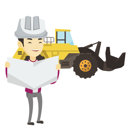 Engineer watching blueprint at construction site. Engineer with blueprint standing on the background of excavator. Engineer with blueprint. Vector flat design illustration isolated on white background