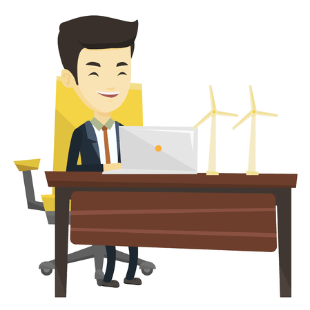 Asian worker of wind farm working on laptop. Young engineer projecting wind turbine in office. Smiling engineer with model of wind turbine. Vector flat design illustration isolated on white background