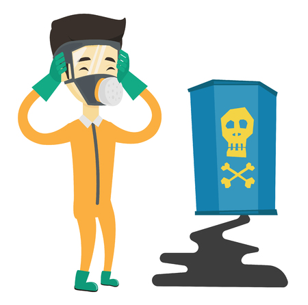 Asian man in respirator and radiation protective suit clutching head. Man in radiation suit looking at leaking barrel with radiation sign. Vector flat design illustration isolated on white background.