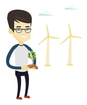 Young asian smiling worker of wind farm. Man holding green small plant in soil on the background of wind turbines. Concept of green energy. Vector flat design illustration isolated on white background Illustration