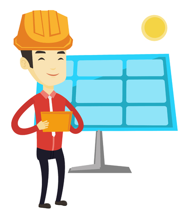 checking: Asian engineer working on digital tablet at solar power plant. Engineer in hard hat using tablet computer while checking solar panel setup. Vector flat design illustration isolated on white background Illustration