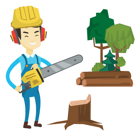 Asian lumberjack holding chainsaw. Lumberjack in hard hat and headphones standing at the forest near stump. Young lumberjack chopping wood. Vector flat design illustration isolated on white background