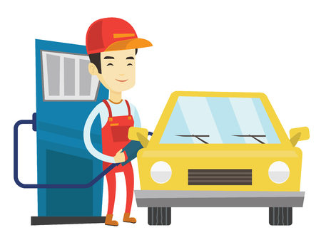 Asian gas station worker filling up fuel into the car. Smiling worker in workwear at gas station. Young gas station worker refueling a car. Vector flat design illustration isolated on white background Иллюстрация
