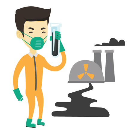 Man in radiation protective suit standing on the background of nuclear power plant. Man in radiation protective suit holding test-tube. Vector flat design illustration isolated on white background.