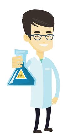 아시아 실험실 도우미 biohazard 기호 플라스 크를 게재하는 의료 가운에. 젊은 실험실 도우미 biohazard 기호와 플라스크를 들고. 흰색 배경에 고립 된 벡터 일러스트
