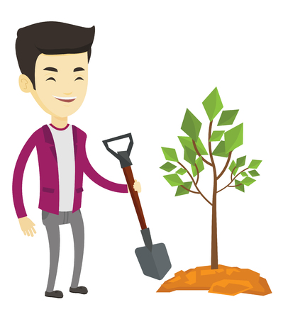 ecologically: Asian man plants a small tree. Man standing with shovel near newly planted tree. Young man gardening. Concept of environmental protection. Vector flat design illustration isolated on white background.