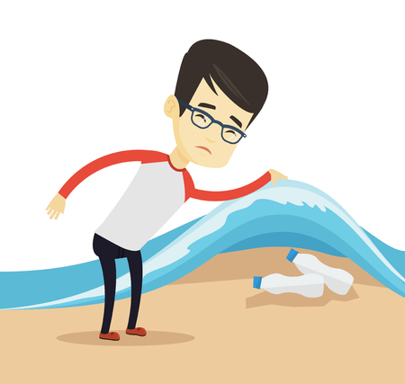 Asian man showing plastic bottles under water of sea. Young man collecting plastic bottles from water. Water and plastic pollution concept. Vector flat design illustration isolated on white background