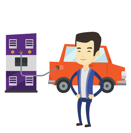 Young asian man charging electric car at charging station. Man standing near power supply for electric car. Charging of electric car. Vector flat design illustration isolated on white background.