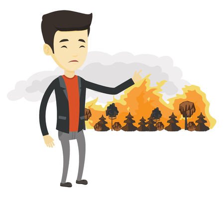 concerned: Concerned asian man pointing at forest in fire. Man standing on the background of a big forest fire. Environmental destruction concept. Vector flat design illustration isolated on white background.